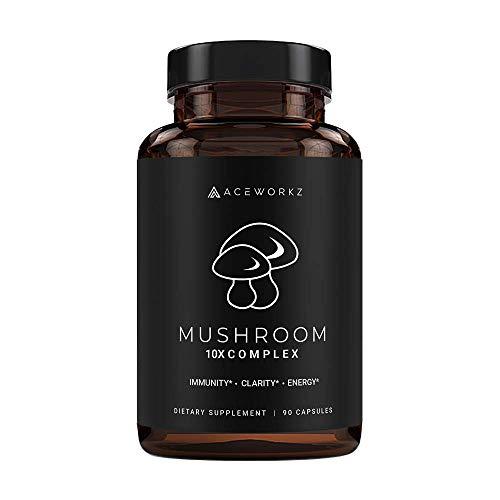 10X Organic Mushroom Supplement - Lions Mane, Reishi, Cordyceps - Immune Booster & Nootropic Brain Supplement for Memory & Focus - Natural Energy & Stress Relief (90 Capsules)