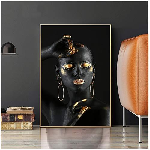 LiangNiInc Leinwand Malerei Schwarze nackte Afrikanerin mit goldenen Fingern und Lippen Wandkunst Bilder für Wohnkultur Wandbild 30x40cm (11,8
