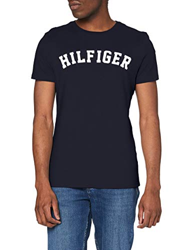 Tommy Hilfiger Herren T-Shirt SS Tee Logo, Blau (Navy Blazer 416), Small