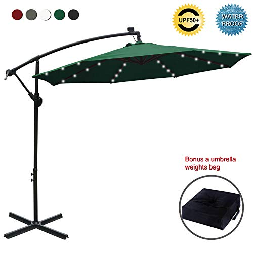 ABCCANOPY 10 FT Solar Powered LED Patio Outdoor Umbrella Hanging Umbrella Cantilever Umbrella Offset Umbrella Easy Open Lift 360 Degree Rotation with 32 LED Lights (Burgundy)