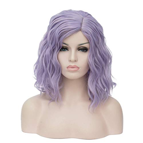 TopWigy Light Purple Cosplay Wig Medium Length Short Bob Curly Body Wave Colorful Synthetic Wigs Costume Party Bob Full Women Wig (Light Purple 16')