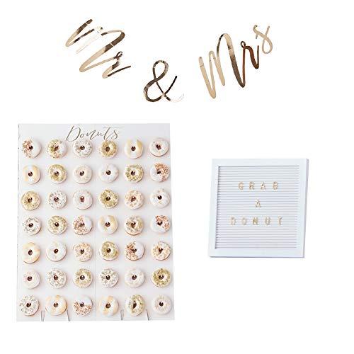 Miss Lovely 3-delige decoratieset voor candy-bar/cake-buffet, goud, huwelijksdecoratie, bruiloft, accessoires, XXL, donut-muur, Mr & Mrs slinger & Letter-board