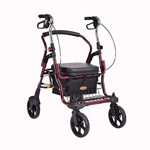 LICHUAN Carro de la Compra Old Man Trolley Walking Scooter Old Shopping Carro de Compras Cuatro Ruedas con Asiento Silla de Ruedas Plegable portátil Carrito de Compras
