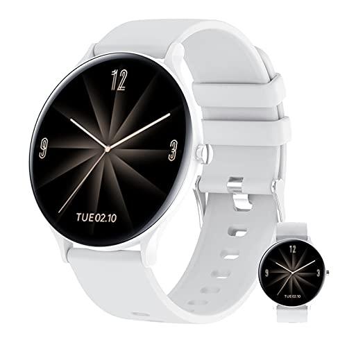 BNMY Reloj inteligente para hombre y mujer, monitor de actividad física, monitor de ritmo cardíaco, monitor de actividad IP67, monitor de sueño, monitor de sueño para Android Ios, color blanco
