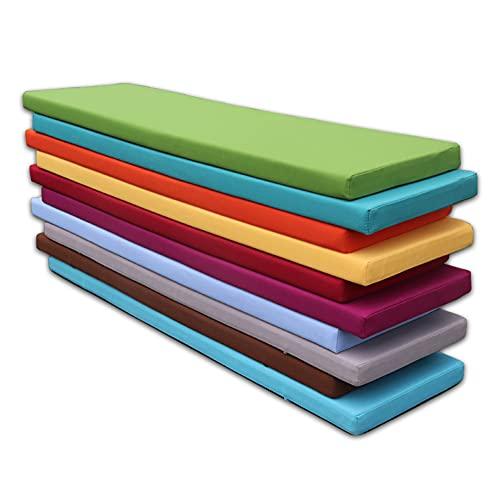 WUWEI Cojín rectangular para banco con lazos, impermeable, para 2 3 plazas, para exteriores, para muebles de jardín, colchón grueso de repuesto para sofá largo y silla de comedor