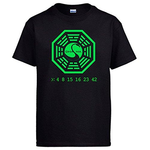 Camiseta ilustración 4 8 15 16 23 42 Dharma números - Negro, S