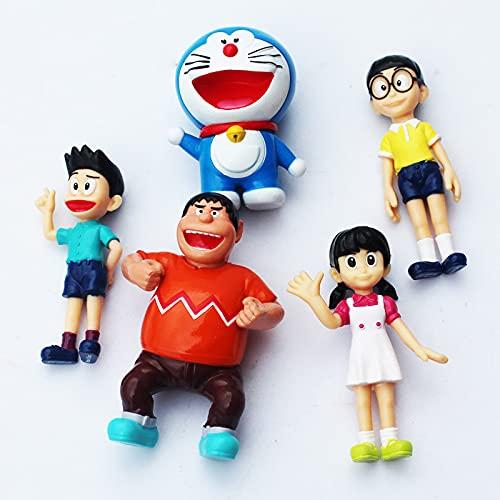 5pcs / lot Anime Doraemon Figura Toys Toys Nobla Shizuka Jaian Sunteo Muñecas Regalo para niños de 5 a 7 cm