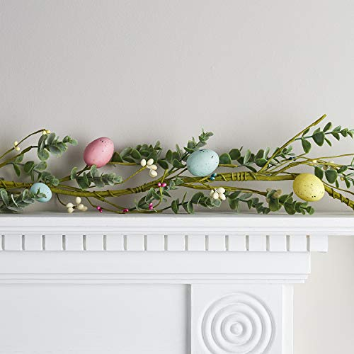 Lights4fun Spring Garland Pastel Easter Egg Decoration Faux Green Foliage & White Berries 1.5m Indoor Use