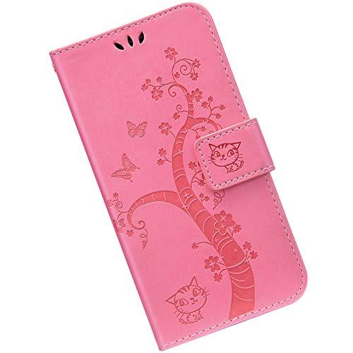 Kompatibel mit Samsung Galaxy S8 Handyhülle Lederhülle Flip Case,Retro Katze Schmetterling Muster Schutzhülle mit Kartenfächer Handschlaufe Wallet Tasche Case Brieftasche Klapphülle,Rosa