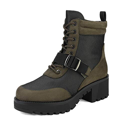 DREAM PAIRS Women's Army Green Lace up Platform Combat Ankle Boots Size 6 M US Strong-2