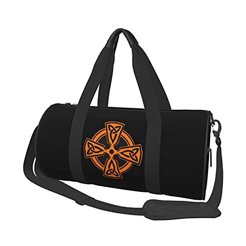 Orange - Celtic Cross Knot Irish Shield Travel Duffel Bag Shoulder Bag Lightweight Sports Equipment Bag For Men & Women