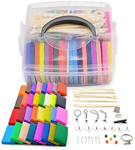 GROWNEER 32 Blocks Polymer Clay Set, Colorful DIY Soft Craft Oven Bake Modelling Clay Kit, with Storage Box, Tools and Accessories