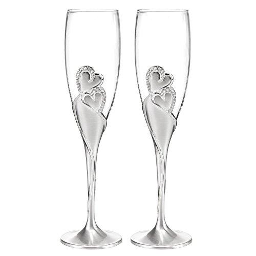 Wedding Toasting Flutes, Sparkling Love Design, Champagne Flutes for Bride and Groom, Set of 2, Silver
