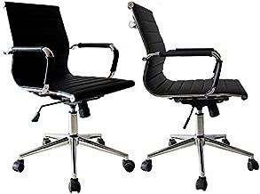 2xhome - Set of 2 Black Modern Mid Back Ribbed PU Leather Swivel Tilt Adjustable Chair Designer Boss Executive Management Manager Office Conference Room Work Task Computer