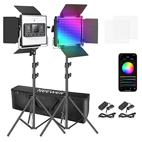 Neewer 2 Packs 480 RGB Led Light with APP Control, Photography Video Lighting Kit with Stands and Bag, 480 SMD LEDs CRI95/3200K-5600K/Brightness 0-100%/0-360 Adjustable Colors/9 Applicable Scenes
