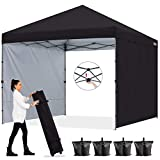 ABCCANOPY 2.5x2.5M Pop up Gazebo With Two Sun Walls Fully Waterproof Commercial Instant Shelter,Wheeled Bag,Sandbags x4,Stakesx4,(Upgraded Gray Frame)