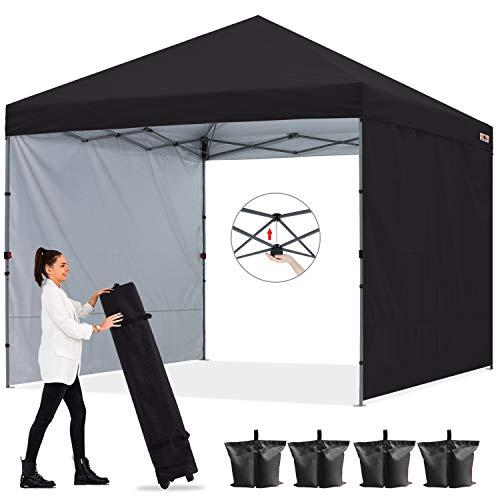 ABCCANOPY - Tienda de campaña con toldo desplegable para exteriores con toldo de pared solar, toldo de playa, toldo con bolsa de transporte con ruedas de 4 bolsas de peso, 4 cuerdas y 4 estacas