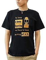 (ジーンズバグ)JEANSBUG LANTERN オリジナル アウトドア ランタン プリント 半袖 Tシャツ メンズ レディース 大きいサイズ ST-LANT S クロ×ヤマブキ(22)