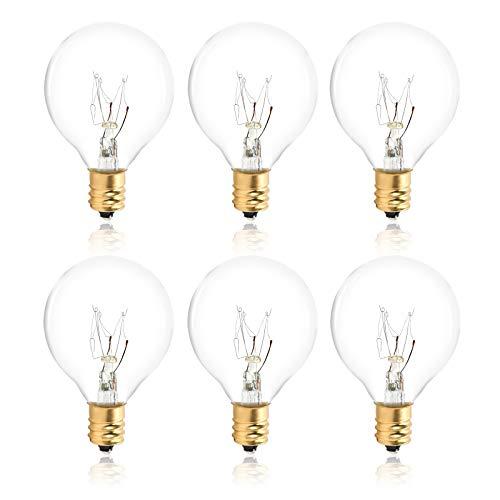Hidixon 6 Pack G40 Replacement Bulbs, 7 Watt G40 Globe Tungsten Incandescent Bulb Lamp E12 Base Socket Holder IP44 Waterproof Warm White Clear Glass Bulbs for Garden String Lights (Gold or Silver)