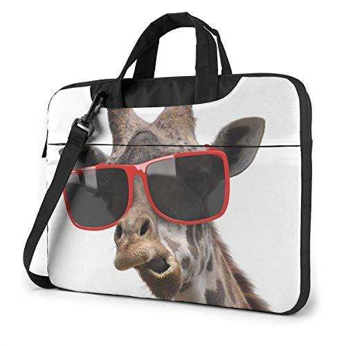Fun Giraffe mit Brille Laptop Schulter Umhängetasche, 15,6-Zoll-Notebook-Hülle Tragetasche mit