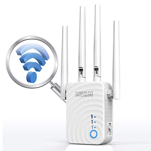 1200Mbps WiFi Repeater Wireless Signal Booster, 2.4 & 5GHz Dual Band WiFi Extender with Ethernet Port, 360 Degree Full Coverage