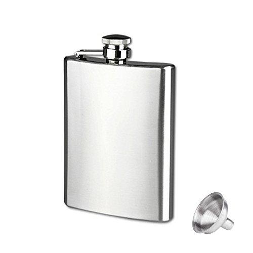 Bluelans® Flasque avec entonnoir en acier inoxydable, 207 ml, pour l'escalade, le camping, le barbecue, les fêtes, les sorties