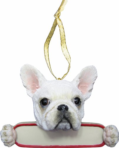 French Bulldog Ornament White 'Santa's Pals' With Personalized Name Plate A Great Gift For French Bulldog Lovers