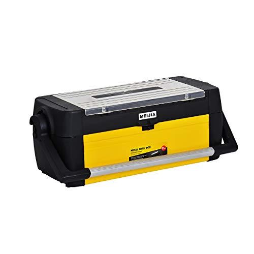 MEIJIA Caja de almacenamiento portátil para herramientas de mango largo, organizador con bandeja extraíble, negro y amarillo, 25,2 x 9,9 x 9,5 pulgadas