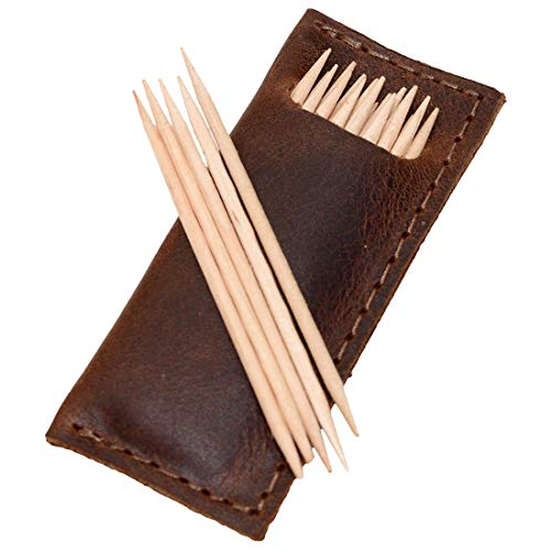 Hide & Drink, Leather Tooth Pick Case (4 pack) / Restaurant & Cafe Supplies/Household Accessories, Handmade Includes 101 Year Warranty :: Bourbon Brown