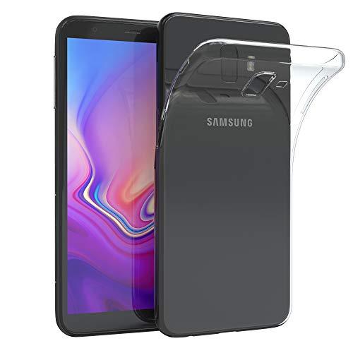 EAZY CASE Hülle kompatibel mit Samsung Galaxy J6 Plus Schutzhülle Silikon, Ultra dünn, Slimcover, Handyhülle, Silikonhülle, Backcover, Durchsichtig, Klar Transparent