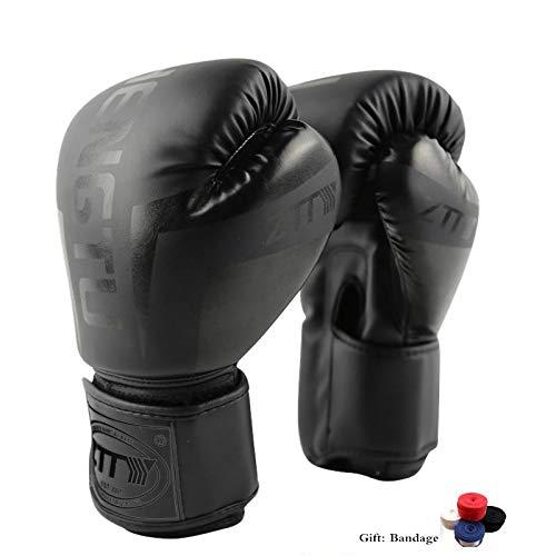 TTXLY Guantes de Boxeo 6Oz-10 Oz para Hombre y Mujer Profesional Sanda Muay Sparring de Cuero Saco de Boxeo Mitones Kickboxing Lucha Transpirable PU Tela,Black,6oz