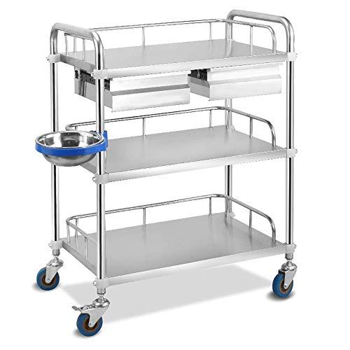 WJY Carro, Comedor Carro médico Carro Diner Carro médico grande de 3 estantes para almacenamiento de enfermería con 2 cajones, Carro utilitario de acero inoxidable para carro de equipo de laboratorio 🔥