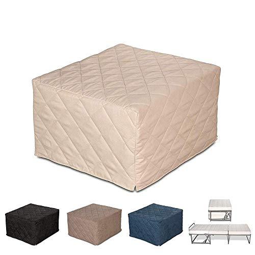EvergreenWeb – Puf Cuadrado colchón Plegable Cama Individual para Invitados, 9 cm de Altura en Poliuretano Expandido de Alta Densidad – Cama Individual Ahorra Espacio - Beige – Desenfundable