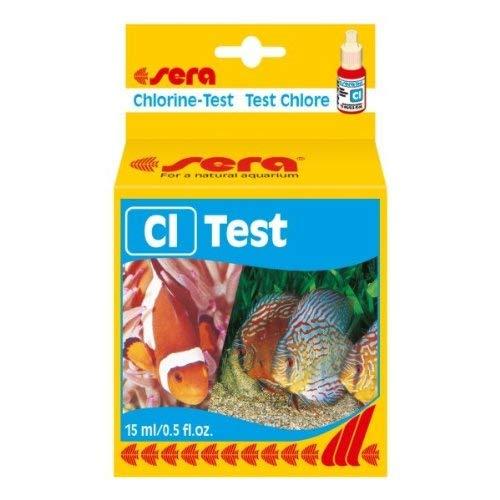 sera 04810 Chlor Test (Cl), Wassertest für ca. 45 Messungen, misst zuverlässig und genau den Chlorgehalt, für Süß- & Meerwasser, im Aquarium oder Teich