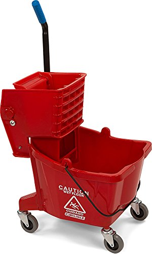 Carlisle 3690805 Commercial Mop Bucket with Side Press Wringer, 26 Quart Capacity, Red