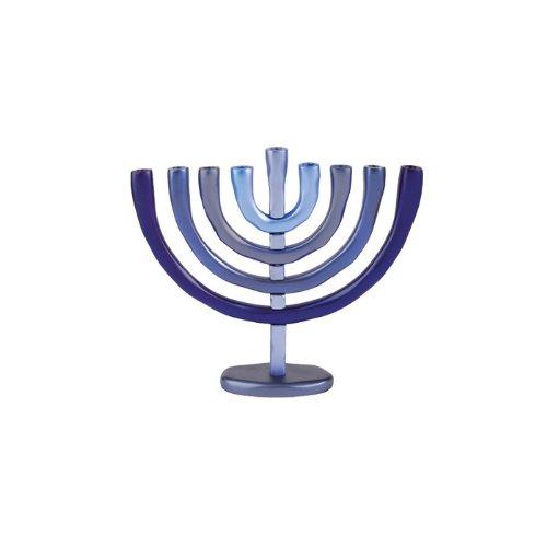 World Of Judaica Yair Emanuel Blue Aluminum Hanukkah Menorah with Temple Design