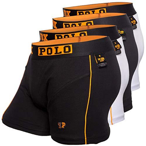 FOXPOLO Boxershorts – Herren Men- 4er Set – Premium – in stylischer Geschenkbox – 95% Baumwolle Cut (L) 2X schwarz/ 2X weiß