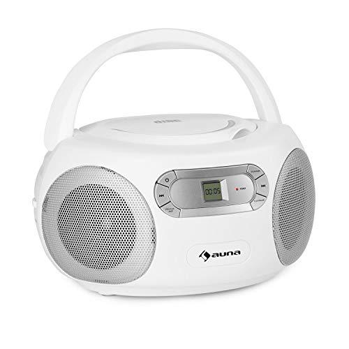 auna Haddaway CD- Minicadena, Reproductor de CD, Conexión Bluetooth, Sintonizador de Radio FM, Entrada AUX, Pantalla LED, Funcionamiento con batería/alimentación, Antena telescópica, Blanco Floral