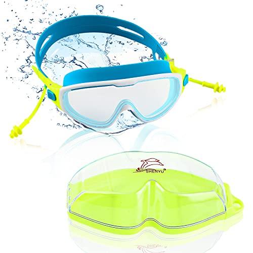 Gafas de Natación,Gafas de Natación de Marco Amplio,Antiniebla Gafas Natacion,Protección UV,Correa de Silicona Ajustable Gafas para Nadar,Gafas para Nadar, Unisex Niños,para Piscina Deportes A