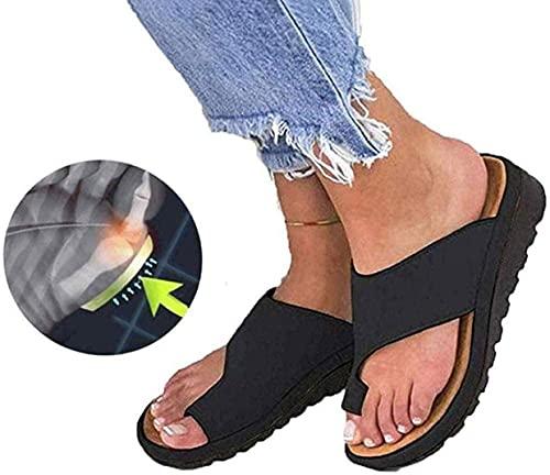 MARLU Unisexo Bunion Corrector Sandalias Zapatos, Corrector de Juanetes Ortopédico, Sandalias Correctoras PU Zapatillas Casuales para La Playa Sandalias de Verano Elegantes,Negro,39
