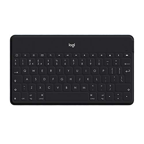 Logitech Keys-To-Go Wireless Bluetooth Keyboard For iPhone, iPad, Smartphone, Tablet, Android, Windows, Apple TV, Ultra-Thin, Ultra-Light, Short-Cut Keys, QWERTZ German Layout,Black