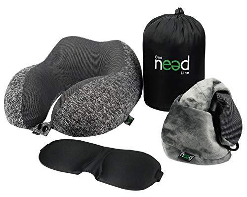 One Need Line - Reiskussen in traagschuim, slaapmasker en 2 kussenslopen - ergonomische, verstelbare, afneembare hoes - draagtas inbegrepen
