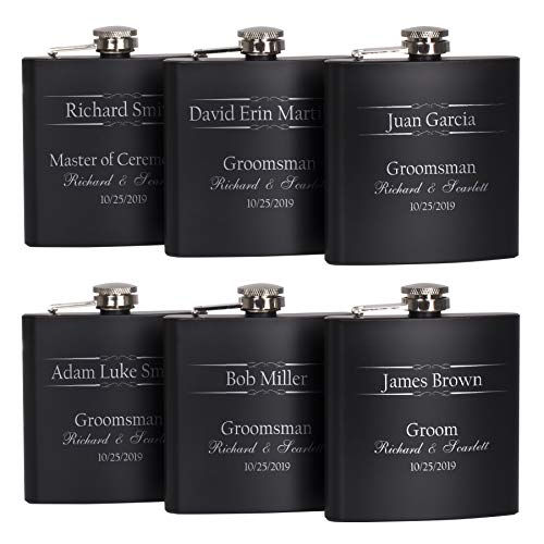 P Lab Set of 6 - Groomsmen Gifts - Engraved Flask Set, Groomsman Gifts For Wedding, Customized Wedding Favor w Optional Gift Box - 6oz Stainless Steel Flask Personalized Flask Gift Set, Black #5