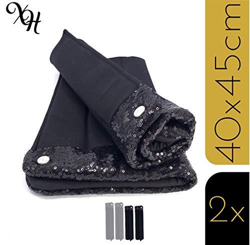 X-traordinary Horsewear - 2er Set handgefertigte Premium Bandagierunterlagen Black Soul mit schwarzen Glitzer-Pailletten | Gr. Warmblut | BxH 40x45cm | Schnelltrocknend und Atmungsaktiv