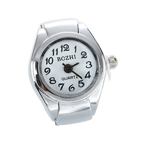 SODIAL(R) Unisexo reloj de Anillo al cuarzo de los numeros arabes esfera redondo blanco