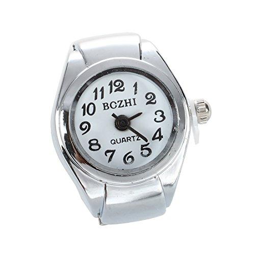 Sodial, orologio anellounisex, in lega, quadrante bianco rotondo, numeri arabi, colore: argento
