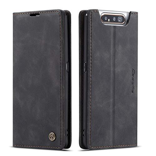 QLTYPRI Hülle für Samsung Galaxy A80 A90, Vintage Dünne Handyhülle mit Kartenfach Geld Slot Ständer PU Ledertasche TPU Bumper Wallet Hülle Flip Schutzhülle für Samsung Galaxy A80 A90 - Schwarz