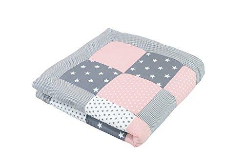 ULLENBOOM ® Baby Krabbeldecke Rosa Grau (120x120 cm Baby Kuscheldecke, ideal als Laufgittereinlage, Spieldecke, Motiv: Punkte, Sterne, Patchwork)