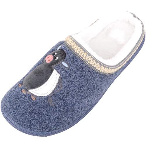Absolute Footwear Leichte Hausschuhe für Damen mit Kuh-Design, Blau - navy - Größe: 37 EU