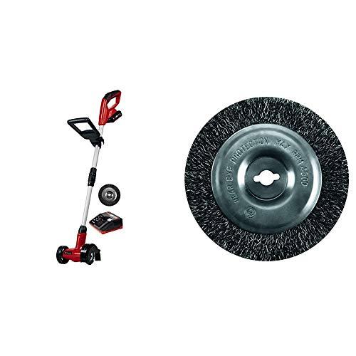 Einhell Akku Fugenreiniger GE-CC 18 Li Set Power X-Change (Lithium Ionen, 18 V, 1200 min-1, Bürstendurchmesser 10 cm, inkl. Stahl- und Nylonbürste) & Original Einhell Ersatzbürste Stahl GC-EG 1410